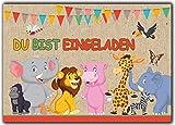 12er-Set-Einladungskarten-Kindergeburtstag-wilde-Tiere-Zoo-Lwe-Elefant-Giraffe-Affe-Zebra-Jungen-Mdchen-Kinder-Geburtstag-lustig-witzig-ausgefallen