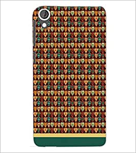 PrintDhaba Heart Pattern D-1665 Back Case Cover for HTC DESIRE 820 (Multi-Coloured)