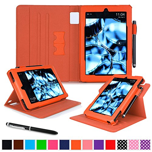 roocase Kindle Fire HD 7 2014 Case, new Kindle Fire HD 7 Dual View Folio Case with Sleep / Wake Smart Cover with Multi-Viewing Stand for All-New 2014 Fire HD 7 Tablet (4th Generation), Orange