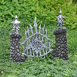 "Miniature Fairy Garden Scary ""Keep Out"" Gate"