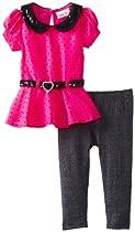 Little Lass Baby-Girls Infant 2 Piece Charmeuse Peplum Legging Set, Hot Pink, 18 Months