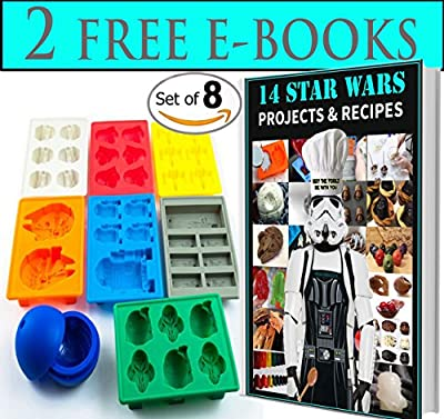 Gooj Star Wars Theme Style Molds Set Of 8 - For Ice Cubes-Chocolate-Gummies And Jello- Comes With Bonus Recipe Ebook
