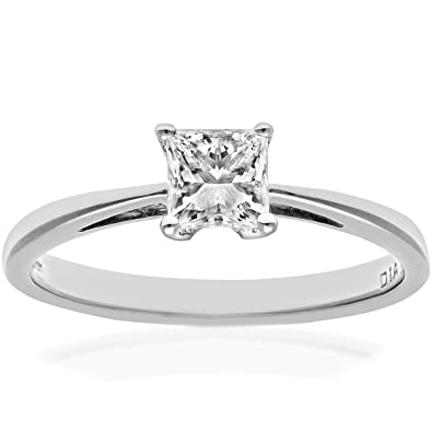 Naava 18ct White Gold Engagement Ring, J/SI Certified Diamond, Princess Cut