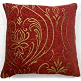 Luxurious Red/Wine Chenille Cushion Cover with Gold Regency Design in Large