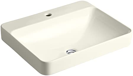 KOHLER K-2660-1-96 Vox Rectangle Vessel Above-Counter Bathroom Sink with Single Faucet Hole, Biscuit