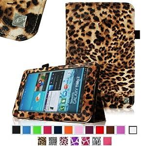 Fintie Slim Fit Folio Case Cover for Samsung Galaxy Tab 7.0 Plus / Samsung Galaxy Tab 2 7.0 Tablet - Leopard Brown