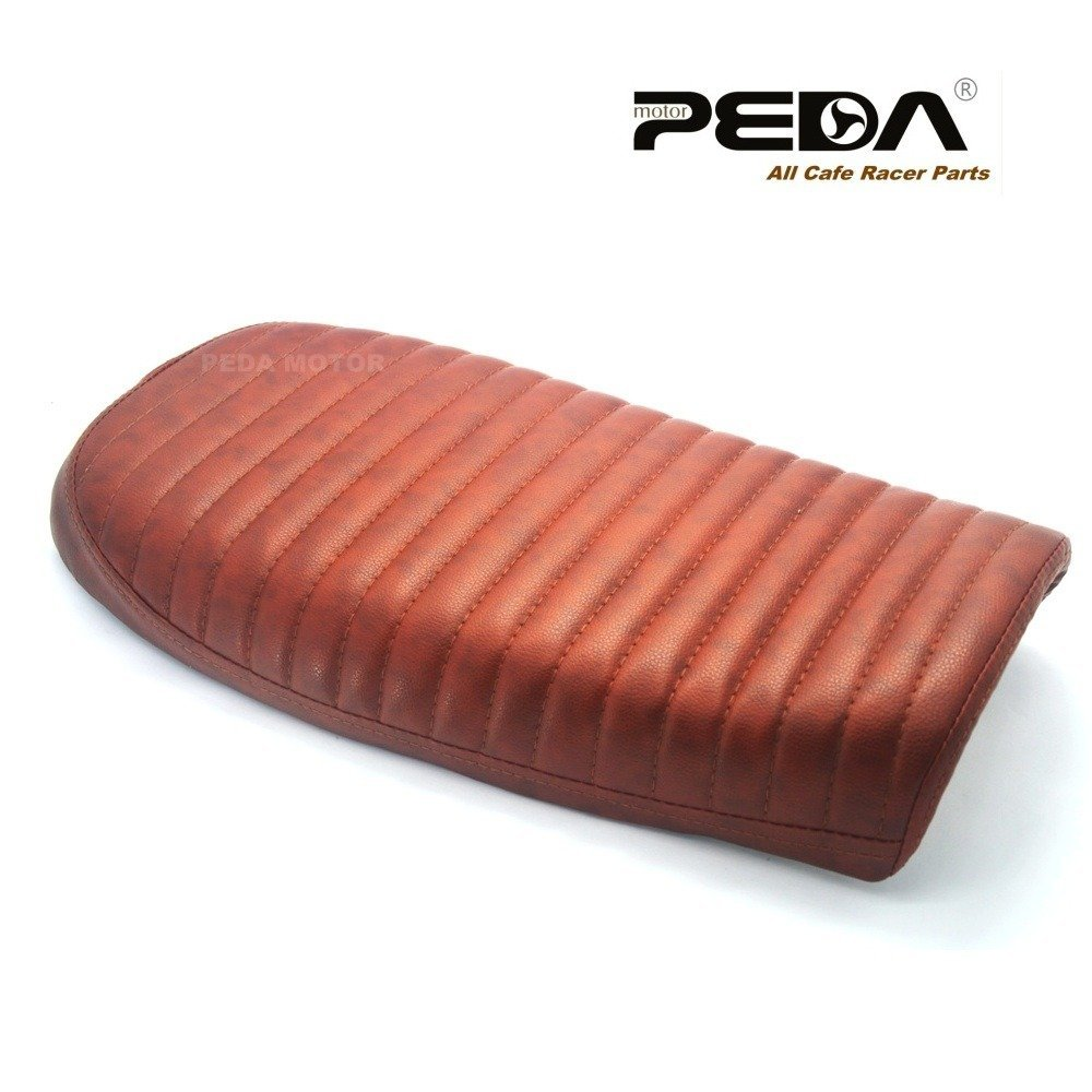 PEDA New Brown Cafe Racer Flat Seat Retro Locomotive Refit Motorcycle Seats Vintage Leather Waterproof 0