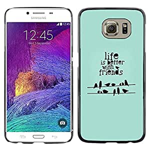 Omega Covers - Snap on Hard Back Case Cover Shell FOR Samsung Galaxy S6 - Quote Birds Green Gift Mint