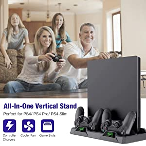 BEBONCOOL Vertical Stand for PS4 / PS4 Pro / PS4 Slim with Cooling Fan, Dual Controller Charger Station for Sony Playstation 4 Game Console Dualshock with 4 Extra USB Micro Dongles (Color: PS4 Cooling Fan, Tamaño: PS4 Cooling Stand)