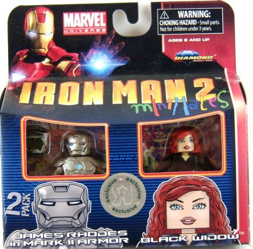 Iron Man 2 Movie Minimates Figure James Rhodes in Mark II Armor & Black Widow