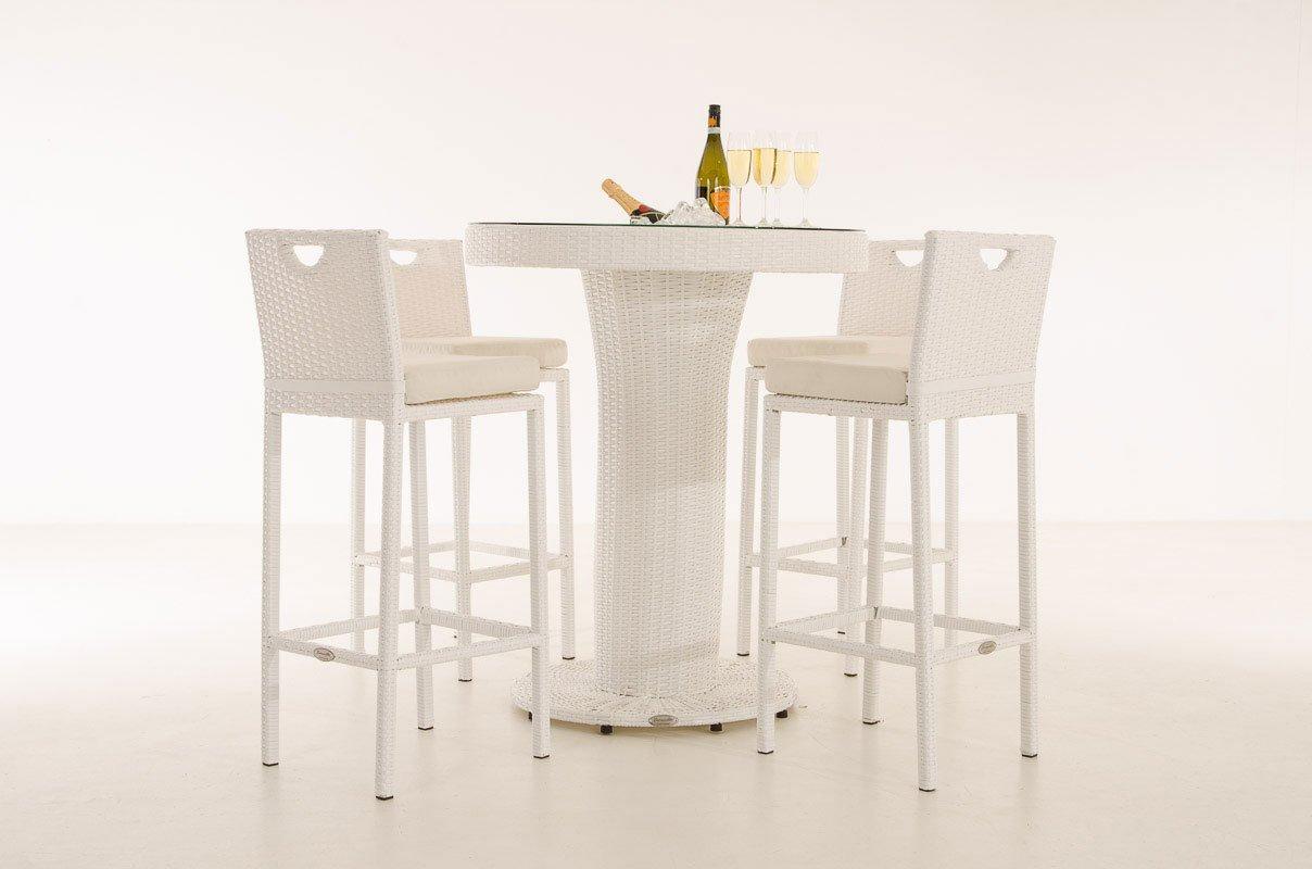 CLP Poly-Rattan Gartenbar MARI L, Bartisch mit eingelassenem Edelstahl-Kübel, 4 x Barhocker, 4 x Sitzkissen weiß