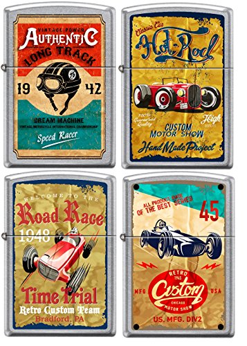 Zippo Old School 1940's Race Club 4 Lighter Set Vintage Poster Street Chrome 0