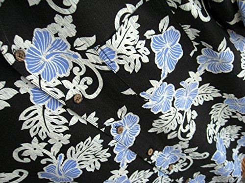 Mens Hawaiian Silk Camp Shirt Black Blue Hibiscus Casual 2
