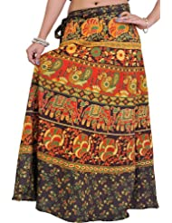 Exotic India Wrap-On Long Skirt From Pilkhuwa With Printed Paisleys And Elephant