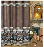 Top-Grade Waterproof Mouldproof Polyester Bathroom Shower Curtain With Vintage Flower,72X80in(180x200CM)