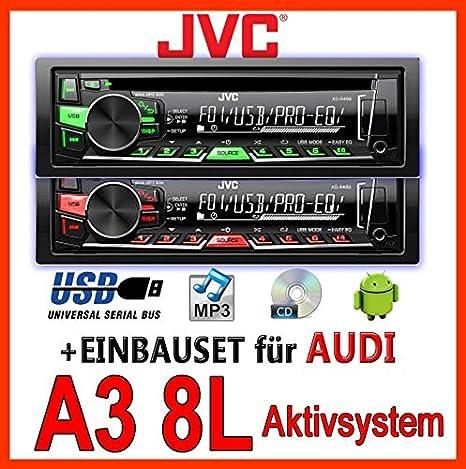 AUDI a3 8L jVC-kD-r469E-cD/mP3/uSB avec kit de montage encastré pour autoradio-système actif pour machine