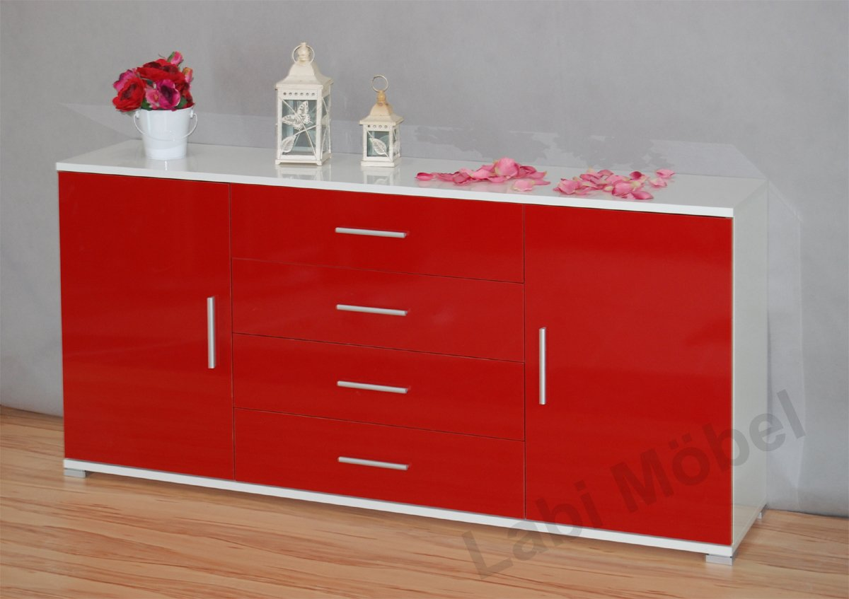Rote kommode sideboard innenraume und mobel ideen for Rote kommode hochglanz
