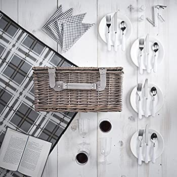 VonShef Deluxe 4 Person Traditional Wicker Picnic Basket Hamper with Cutlery, Plates, Glasses, Tableware & Fleece Blanket - Grey Gingham