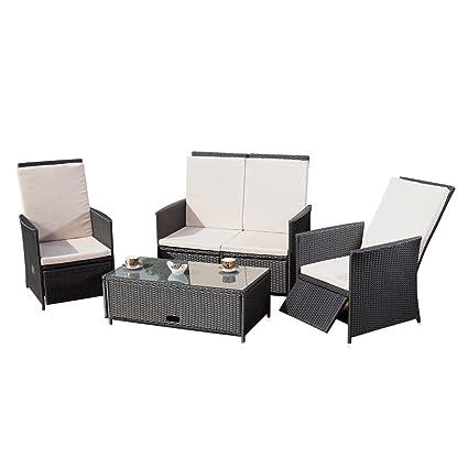 Gartenmöbel Set bestehend aus 2er Sessel Sofa und Tisch in schwarz