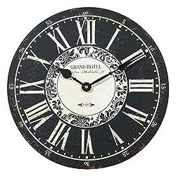 NIKKY HOME Vintage Paris Grand Hotel Round Quartz Analog Wall Clock 12'' x 12'' Black