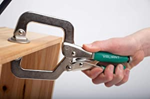Woodworking 3 Metal Face Clamps | Heavy Duty C-Type Clamping Tools For Cabinetry | Ergonomic Corner Grip One-Handed Clamp Set For Craftsmen | Larger Flat Surface (2 Pack With Pads) (Color: green, Tamaño: 2 Clamps With Pads)