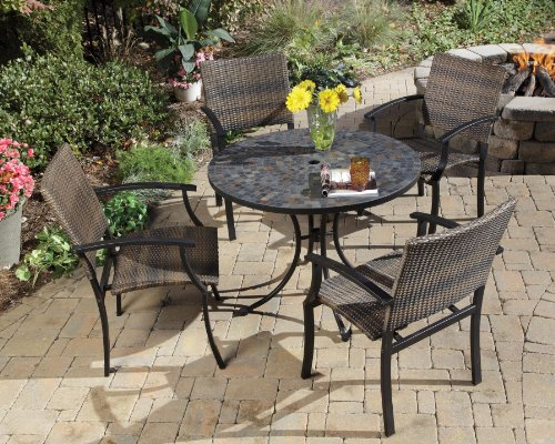 Home Styles 5601-3081 Stone Harbor 5-Piece Outdoor Dining Set, Slate Finish photo