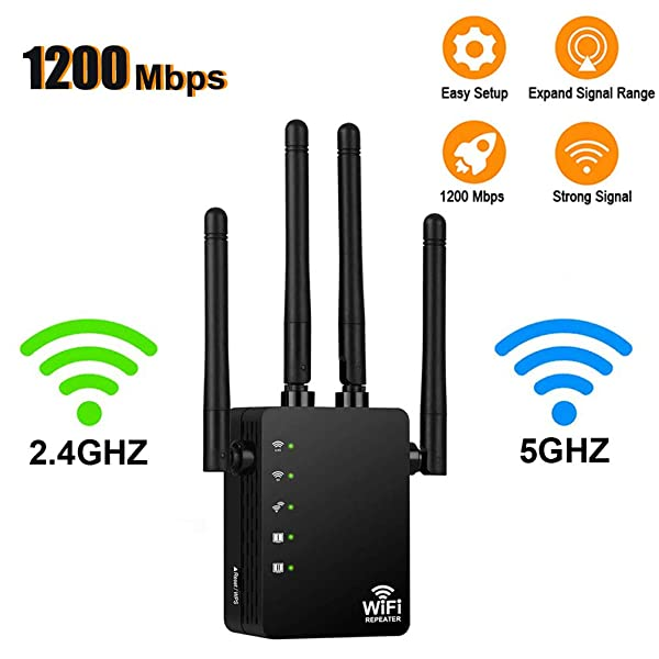 [Upgraded 2020] WiFi Range Extender - 1200Mbps WiFi Repeater Wireless Signal Booster, 2.4 & 5GHz Dual Band WiFi Extender with Gigabit Ethernet Port, Extend WiFi Signal to Smart Home & Alexa Devices (Color: Black)