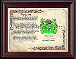 Mcguire Coat of Arms/ Family Crest on Fine Paper and Family History