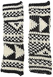 Woolrich Women's Geometric Arm Warmers Gloves Mittens, Black/Wool Cream, One Size