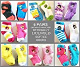 Childrens Boys/Girls 6-Pack Softee Fuzzy Socks Licensed by Disney, Sesame Street, Nickelodeon & more characters