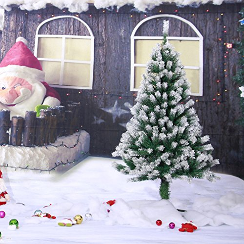 4' ^^ ^ Spray Snow Artificial Christmas Hinged Pine Xmas Tree Metal Legs 218Tips 1.2m