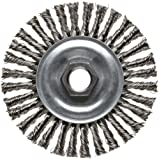 Weiler Vortec Pro Narrow Face Wire Wheel Brush, Threaded Hole, Carbon Steel, Stringer Knotted