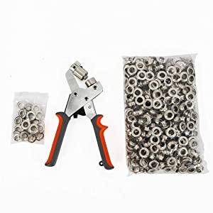 Hand Eyelet Press Hole Punch Pilers Grommet Tool Portable Manual Grommets Punching Machine W/500 Pcs 3/8 Eyelets