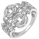 Johareez 0.07CTW Gorgeous White Diamond .925 Sterling Silver Ring