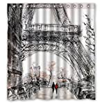 "Eco-friendly Abstract Watercolor Vintage Paris Eiffel Tower Art Shower Curtain Waterproof Bathroom Curtain Liner with Hook 66"" x 72"""