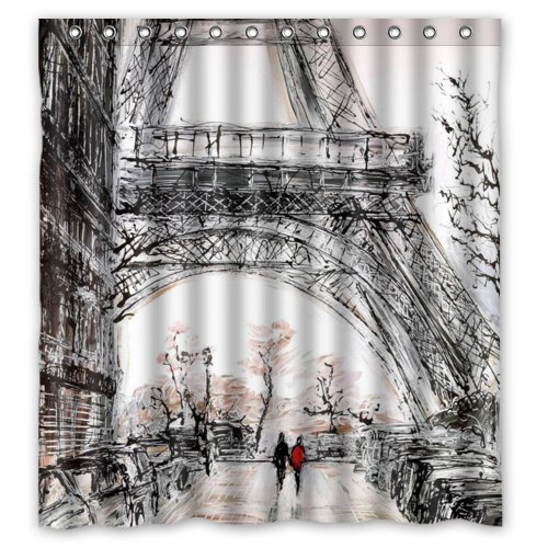 Eco-friendly Abstract Watercolor Vintage Paris Eiffel Tower Art Shower Curtain Waterproof Bathroom Curtain Liner with Hook 66