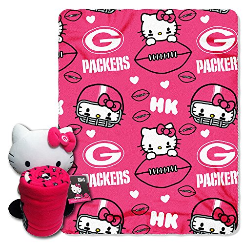 Nfl Green Bay Packers Hello Kitty Fleece Throw With Hugger, 40 X 50-Inch, Pink front-32560