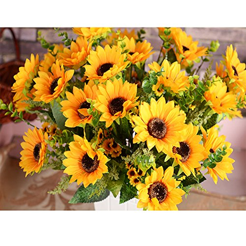 Sunflowers Artificial Flowers Bouquet For Home Decoration/Wedding Decor 2 Bunches of Flowers Per Pack, 12 Folowers Per Bunch (sunflower)