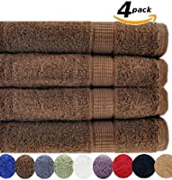 4 Luxury Combed Cotton Large Bath Towels