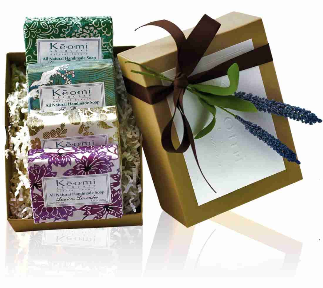 ORGANIC – ALL NATURAL – HANDMADE SOAP GIFT SET – Pure Aromatherapy Grade – 4 Full Size Bars – Wrapped In Handmade Decorative Paper – Comes In Elegant Embossed Gift Box
