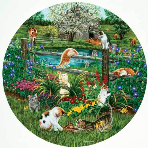 Cheap Sunsout Cats At Play – 500 Piece Round Jigsaw Puzzle (B004D0K44K)