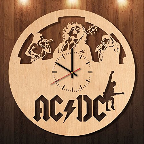 AC-DC-HANDMADE-natural-wood-wall-clock-Get-unique-home-wall-decor-Gift-ideas-for-women-boys-siblings-Unique-Music-art-Leave-us-a-feedback-and-win-your-custom-clock