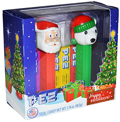 pez-holiday-santa-and-snowbear-twin-pack-gift-box-2-dispensers-and-6-rolls-of-assorted-pez-candy-chr