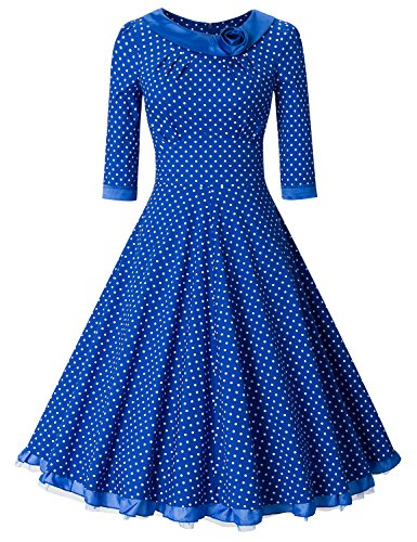 MUXXN Women's 1950s Rockabilly 3/4 Sleeve Swing Vintage Dress (M, Blue Dot) (Cobalt Blue Bridesmaid Dresses compare prices)