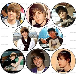 "Set of 8 Justin Bieber Pinback Buttons 1.25"" Pins Singer"