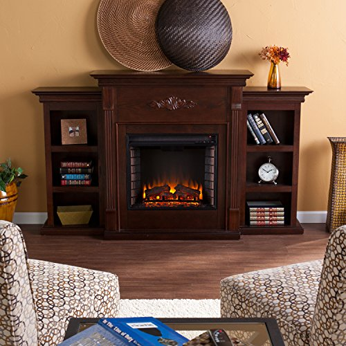 """42"""" Electric Fireplace Led Light With Book Shelf , Tv Media Stand, Espresso Finish"""