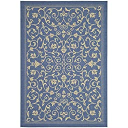 Safavieh Courtyard Collection CY2098-3103 Blue and Natural Indoor/ Outdoor Area Rug, 5 feet 3 inches by 7 feet 7 inches (5\'3\