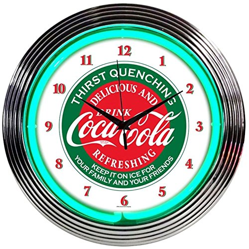 Neonetics Drinks Coca Cola Evergreen Neon Wall Clock, 15-Inch 0