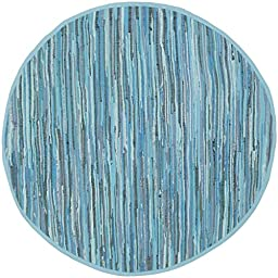 Safavieh Rag Rug Collection RAR121B Hand Woven Blue and Multi Cotton Round Area Rug, 6 feet in Diameter (6\' Diameter)