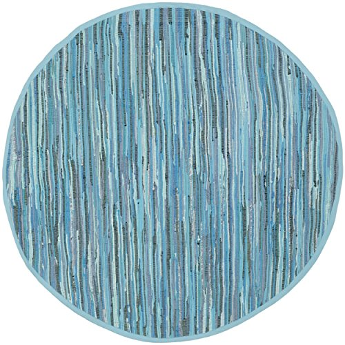 Safavieh Rag Rug Collection RAR121B Handmade Blue and Multicolored Cotton Round Area Rug, 4 feet in Diameter (4' Diameter)